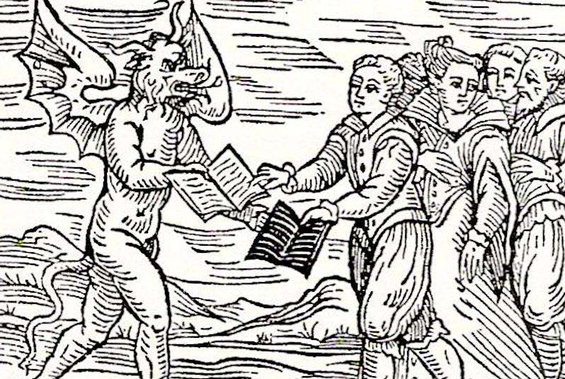 Woodcut satan witches books